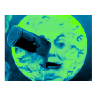 Carte Postale Un voyage à la lune (Aqua rétro Sci marin fi)