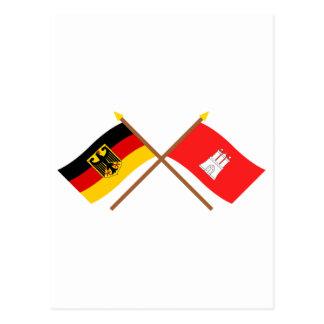 Carte Postale Und Hambourg Flaggen, gekreuzt du Deutschland