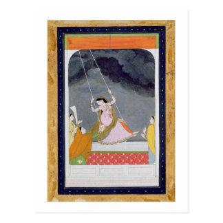 Carte Postale Une dame sur une oscillation, Kangra, collines