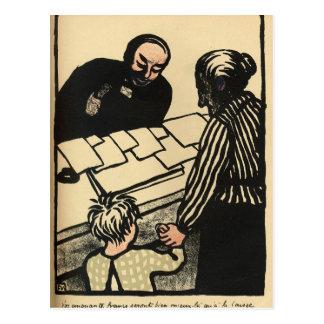 Carte Postale Une femme et un enfant remettent leur épargne