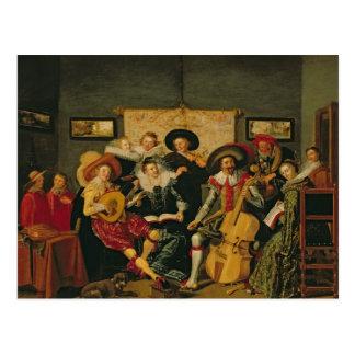 Carte Postale Une partie musicale, c.1625
