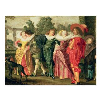 Carte Postale Une promenade dans le jardin, c.1623