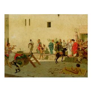Carte Postale Une scène romaine de rue avec des musiciens et un