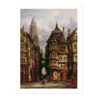 Carte Postale Une vue dans le quart juif, Francfort, 1877 (huile