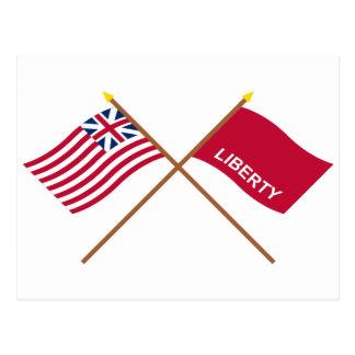 Carte Postale Union et drapeaux grands croisés de Huntington