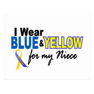 Carte Postale Usage de syndrome de Down I bleu et jaune pour ma
