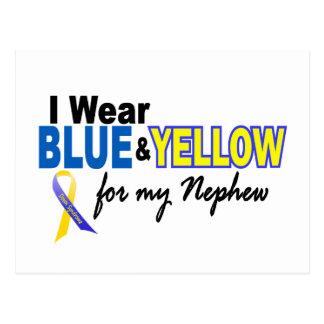 Carte Postale Usage de syndrome de Down I bleu et jaune pour mon