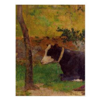 Carte Postale Vache à agenouillement par Paul Gauguin