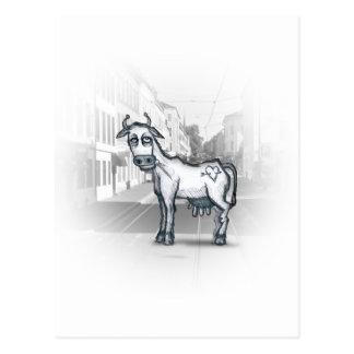 Carte Postale vache à ville