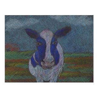 Carte Postale Vache laitière fière d'agriculteur