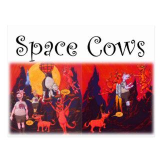 Carte Postale Vaches à l'espace sur Mercury
