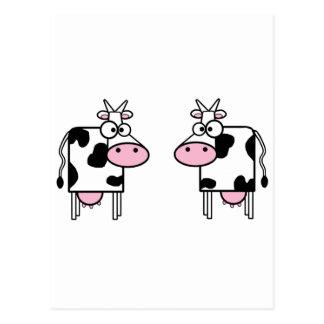 Carte Postale Vaches heureuses à bande dessinée