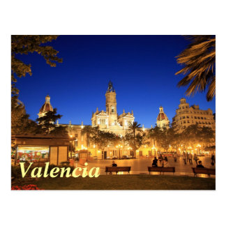 Carte Postale Valence : Plaza Ayuntamiento par nuit
