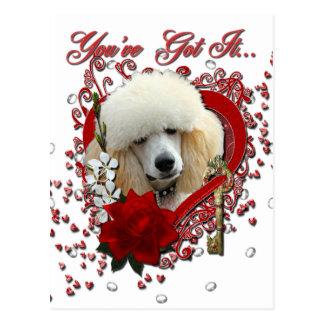 Carte Postale Valentines - clé à mon coeur - caniche - abricot