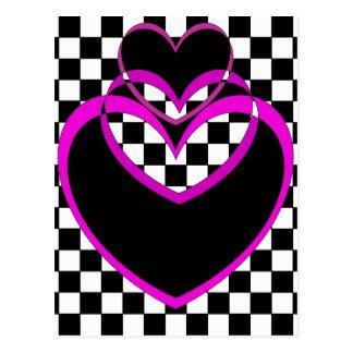 Carte Postale Valentines de coeurs pourpres de coeur de Popart