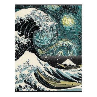 Carte Postale Van Gogh la nuit étoilée - Hokusai la grande vague