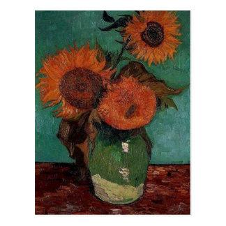 Carte Postale Vase avec trois tournesols, Vincent van Gogh