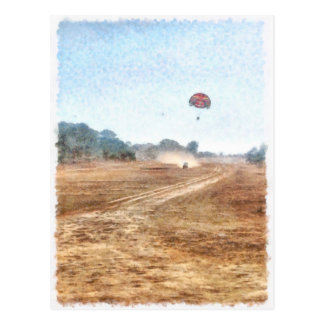 Carte Postale Véhicule et parachute ascensionnel au-dessus de