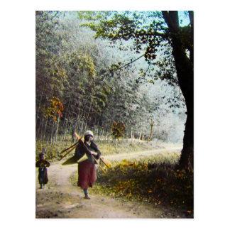 Carte Postale VERGER de BAMBOU en verre de glissière de lanterne