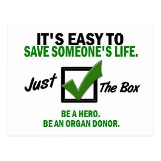 Carte Postale Vérifiez la boîte soit un donateur d'organe 5