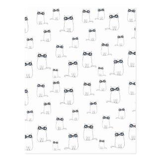 Carte Postale Verres de port de chat blanc