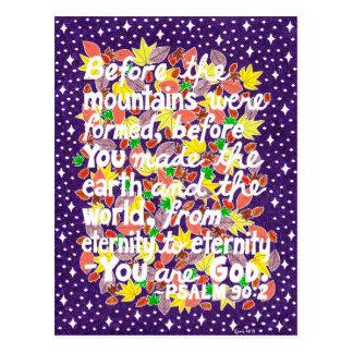 Carte Postale Vers coloré de bible de typographie de Dieu