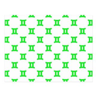Carte Postale Vert de motif de Gémeaux