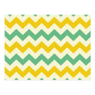 Carte Postale Vert jaune de zigzags de Chevron d'agrume et de