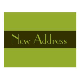 Carte Postale Vert olive de nouvelle adresse