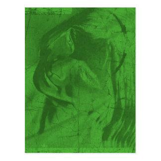 Carte postale verte III de réflexions