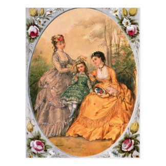 Carte Postale Victorian Fashion Plate Women and child