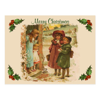 Carte postale victorienne de coupure de Noël