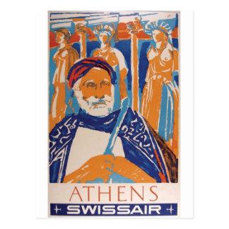 Carte Postale Vieille annonce Swissair Grèce