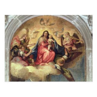 Carte Postale Vierge et enfant avec des musiciens d'ange