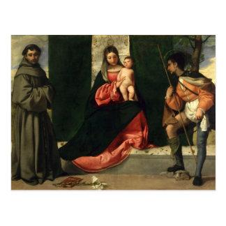 Carte Postale Vierge et enfant avec St Anthony de Padoue