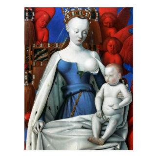 Carte Postale Vierge et enfant entourés par des anges - Fouquet
