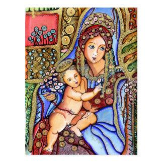 Carte Postale Vierge Marie et peinture d'enfant de Jésus