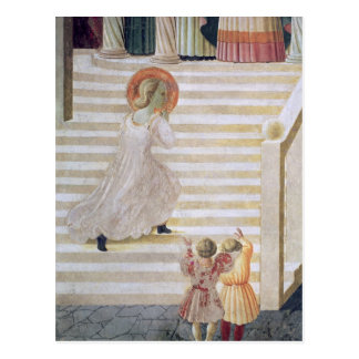 Carte Postale Vierge Marie montant l'escalier