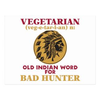 Carte Postale Vieux mot indien végétarien pour le mauvais