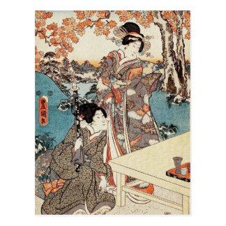 Carte Postale Vieux rouleau de geisha vintage japonais d'ukiyo-e