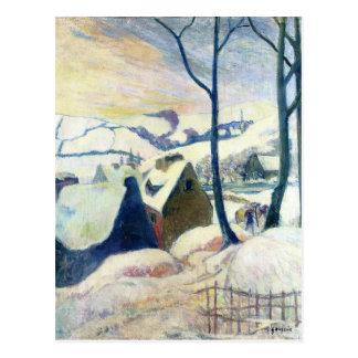 Carte Postale Village dans la neige par Paul Gauguin