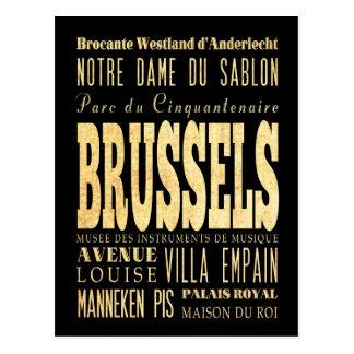 Carte Postale Ville de Bruxelles d'art de ville de typographie