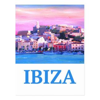 Carte Postale Ville et port d'Ibiza de rétro affiche vieux