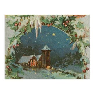 Carte Postale Ville vintage de Noël avec des enfants