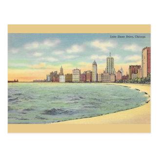 Carte postale vintage de Chicago d'entraînement de