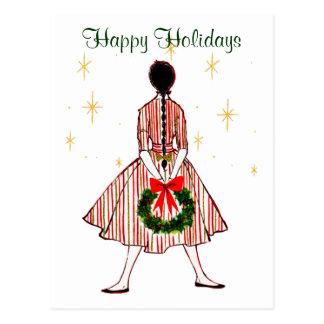 Carte postale vintage de cru de fille de Noël de
