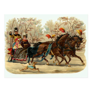 "Carte postale vintage de Noël ""de tour de Sleigh"""