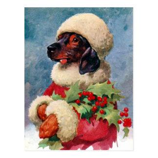 Carte postale vintage de teckel de houx de Noël