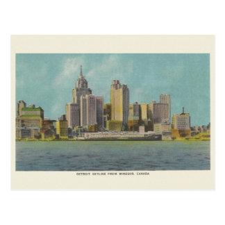 Carte postale vintage de voyage de Detroit
