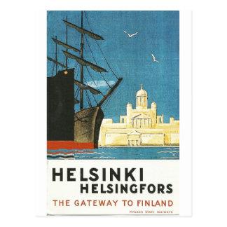 Carte postale vintage de voyage de Helsinki,